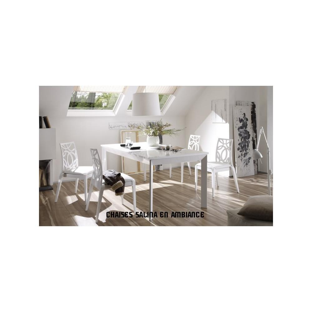 Salle manger compl te avec bahuts et table blanc prix for Ensemble sejour complet